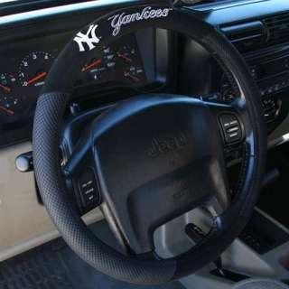 New York Yankees Black Steering Wheel Cover 023245685108