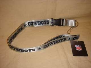 DALLAS COWBOYS SILVER LANYARD KEYS / BADGE HOLDER NFL NEW
