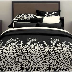 BLACK WHITE LEAF COMFORTER & SHAMS SET NEW TWIN, KING & QUEEN SZS