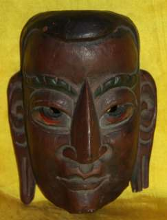 Old Antique Tibetan Folk Ritual Carved Painted Wooden Mask