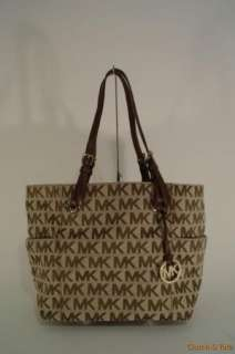 NEW Michael Kors Jet Set Item Signature Logo Jacquard E/W Tote Handbag