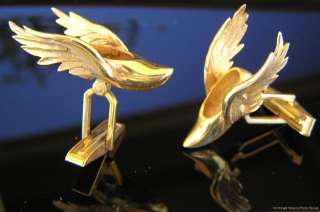 Gold Cufflinks Winged Shoes of Hermes or Mercury   Greek God