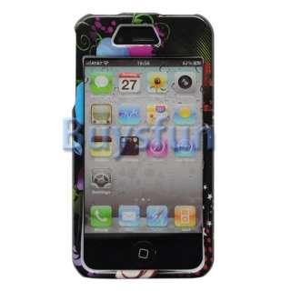 Flower Black Hard Case Cover For Apple iPhone 4 4G 4S