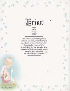 Precious Moments Print Personalized Name Meaning Poem