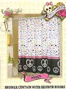 COOKIE PEACE FABRIC SHOWER CURTAIN & 12 RESIN SHOWER CURTAIN HOOKS