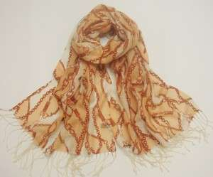 Peaches & Cream 100% Wool Printed Pashmina Shawl Wrap Scarf