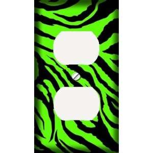 Lime Green Jagged Zebra Skin Print Decorative Outlet Cover