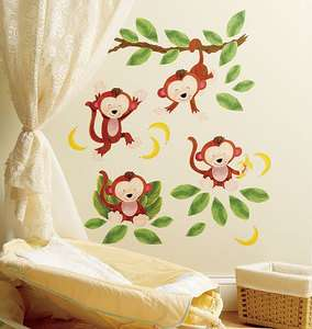 Jungle Leafs Vines Monkey Peel & Stick Vinyl Murals Stickers Decals