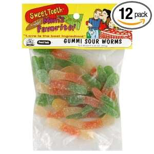 Sweet Tooth Gummy Sour Worms, 4.5 Ounce (Pack of 12)