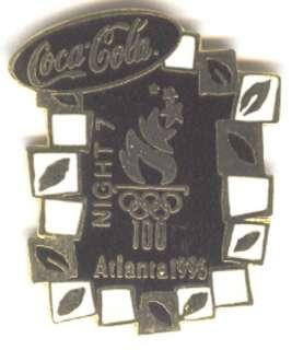 1996 ATLANTA OLYMPIC COCA COLA NIGHT PIN SET DAY 7,8,9