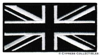 BLACK BRITISH FLAG iron on PATCH UNION JACK ENGLAND UK