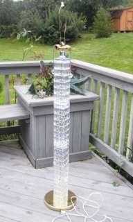 ART DECO CRYSTAL GLASS FLOOR DOUBLE SOCKET PULL CHAINS TALL LAMP LIGHT