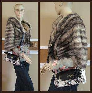 JUST CAVALLI Python Snake Embssd Brown Cream Sm Leather Crossbody bag