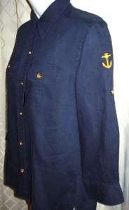 LAUREN RALPH LAUREN Blue Linen Nautical Blouse Shirt Size Petite M