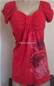 New Womens Maternity Red S M L XL Shirt Top Flower Print Blouse