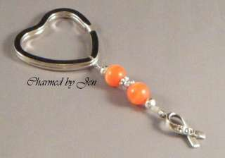 MS MULTIPLE SCLEROSIS AWARENESS Keychain w/ HOPE Charm