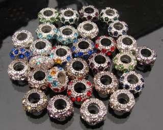 30PCS European Beads CRYSTAL SPACER BEADS FITS Charm Bracelet