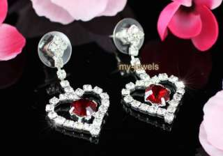 Red Crystal Heart Necklace Bracelet Ring Earrings S1032
