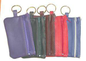 Double Zipper Leather Pouch with Key Ring Attached