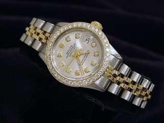 Ladies Two Tone 14k Gold/Ss Rolex Datejust Watch W/Silver Diamond Dial