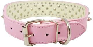 19 22 Studs Spikes Pink Leather Dog Collar Large 2