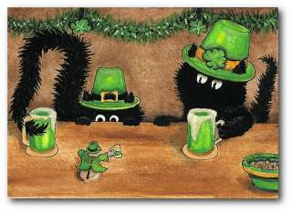 Peek&Boo Black Cats Hamster St Patricks Leprachaun Bar FuN ArT   ACEO