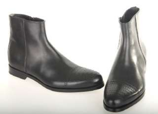 NEW PRADA MENS BLACK LEATHER PERFORATED TOE DRESS ANKLE BOOTS SHOES 6