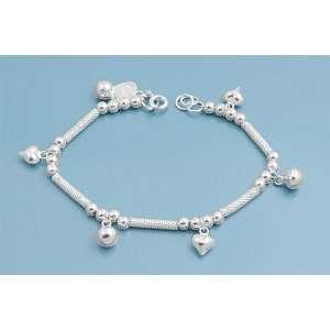 Sterling Silver Valentine Hearts & Bells Charm Bracelet