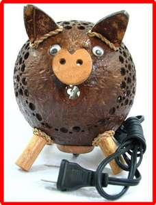 Handmade Wooden Crafts   Coconut Shell Lamp   Pig Lamp #1