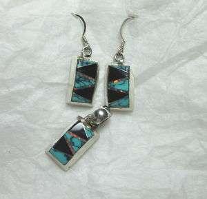 925 Sterling Silver Opal Black Onyx Turquoise EARRING PENDANT SET