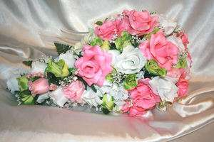 Bridal Bouquet Package Pink Green Silk Flower Wedding Centerpieces