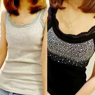 Rhinestone Lace Sleeveless T shirt Women Tank Top Vests Camisole Shirt