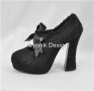 Demon 11L goth gothic black lace platform mary jane shoes heels 10