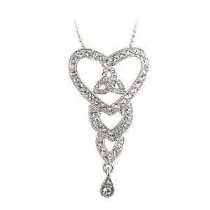 Rhodium Crystal Trinity Heart Pendant   Made in Ireland Jewelry