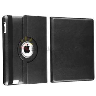 Black Rotating Magnetic Leather Case Hard Cover Swivel Stand