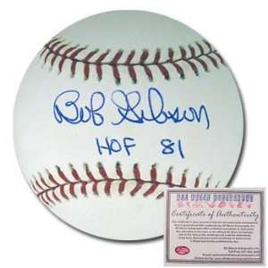 Bob Gibson Autographed/Hand Signed Rawlings MLB Baseball with HOF 81