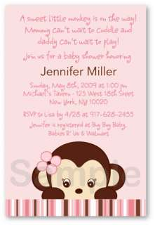 Mod Girl Monkey Baby Shower Invitation Print Your Own