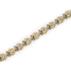 14kt White Gold Diamond Heart Bracelet 0.20ct TW Jewelry
