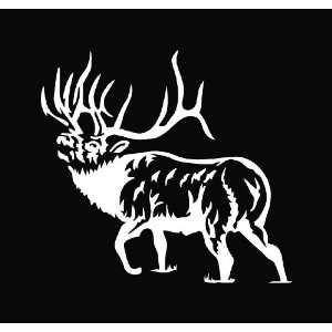 Elk Hunting Die Cut Vinyl Decal Sticker   6 White