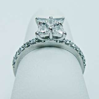 Unique Princess Trillion Diamond Engagement Ring 14K White Gold Estate
