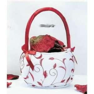 Red & White Stitched Flower Girl Basket Arts, Crafts