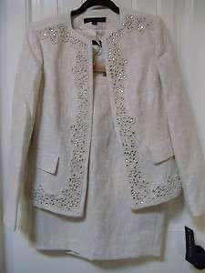 ANNE KLEIN Elegant Classy Embellished Women Cocktail Skirt Suit 8