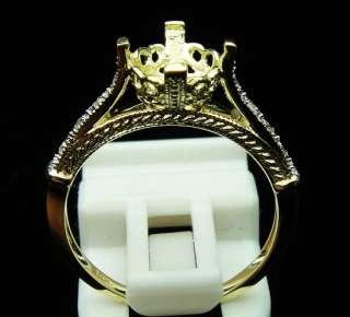 SOLID 14K YELLOW GOLD DIAMOND SETTING SEMI RING MOUNT