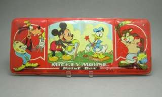 Vintage Tin Litho Disney Mickey Mouse Paint Box Set Toy