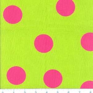 45 Wide Funky Brights Bouncing Dots Lime & Hot Pink