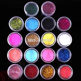 18 Color Nail Art Glitter Dust Powder Decoration B50