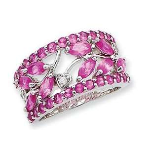Designer Jewelry Gift Sterling Silver Pink Cz Leaf Ring Size 7.00