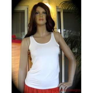 Summer Womens Sleeveless Tank Tops Rayon T Shirts Off White Vest One