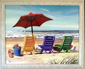 Beach Chairs Scene Umbrella Kids Room W Print Framed