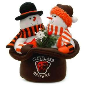 12 NFL Cleveland Browns Snowmen Top Hat Table Christmas